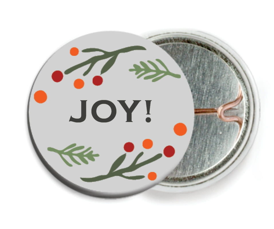 custom pin back buttons - stone - floral candycane (set of 6)