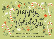holiday cards - green tea - floral candycane (set of 10)