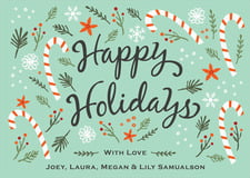 holiday cards - aqua - floral candycane (set of 10)