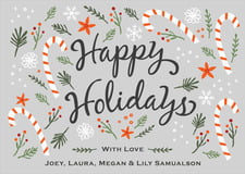 holiday cards - stone - floral candycane (set of 10)