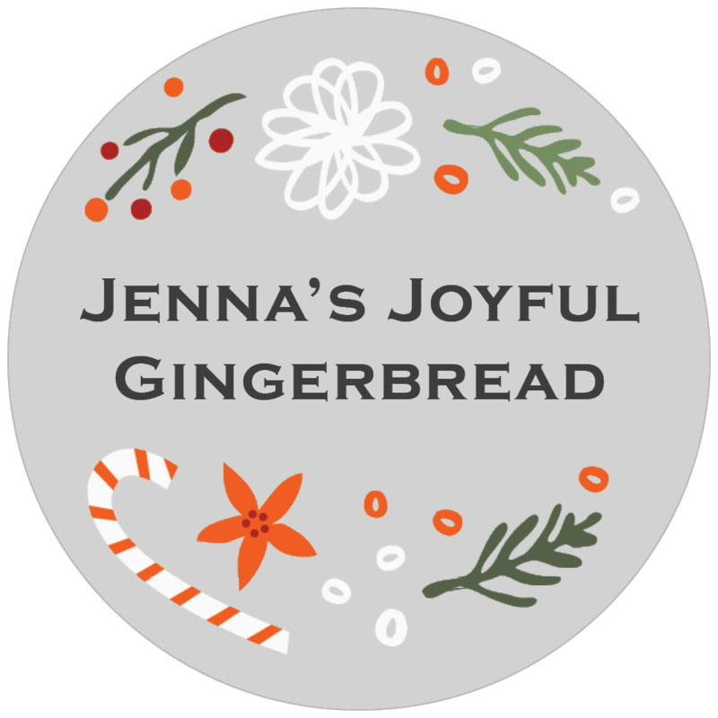 circle food/craft labels - stone - floral candycane (set of 20)