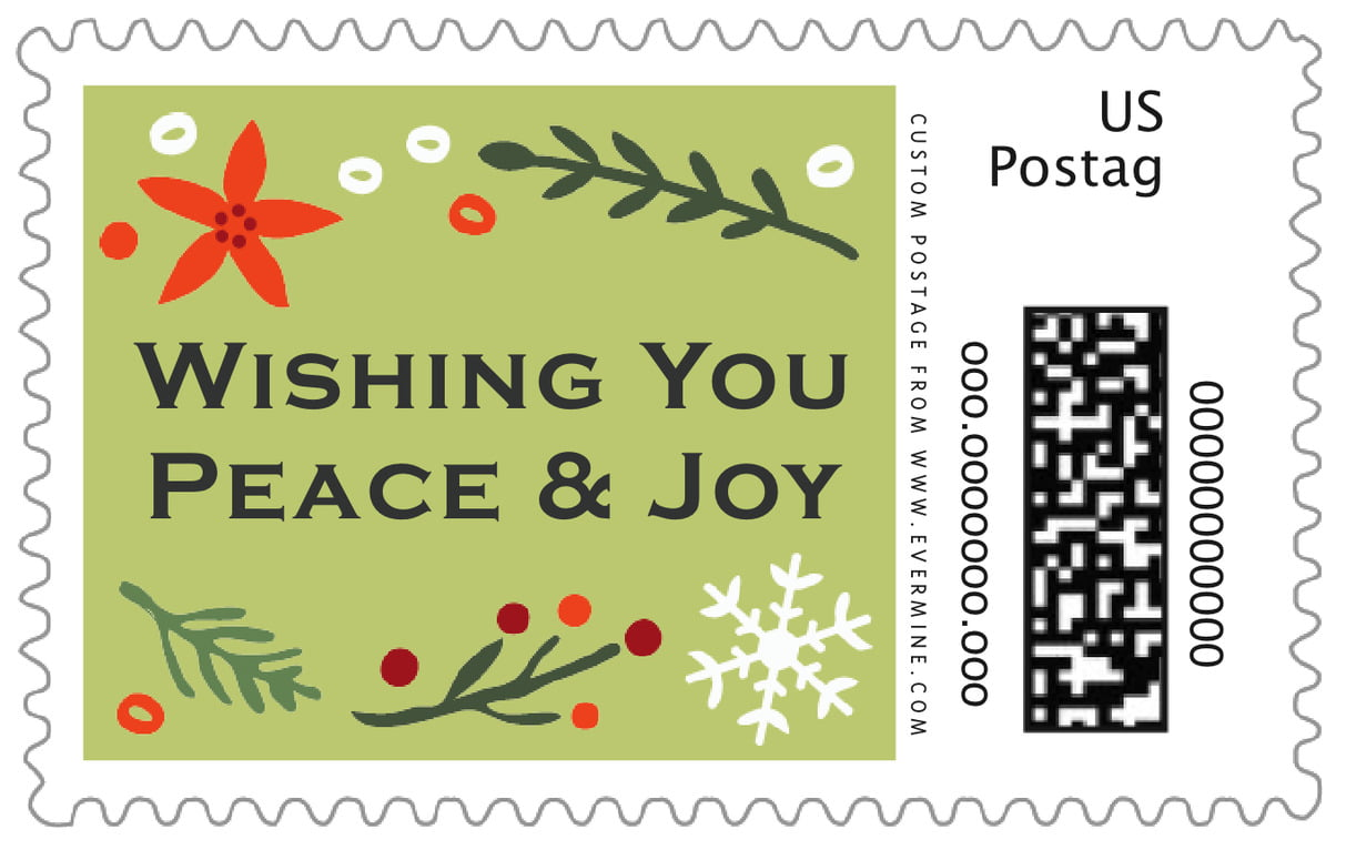 custom large postage stamps - green tea - floral candycane (set of 20)