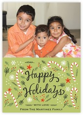 Floral Candycane holiday photo cards