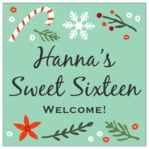 Floral Candycane square labels