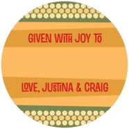 Fest Large Circle Gift Label In Sunburst