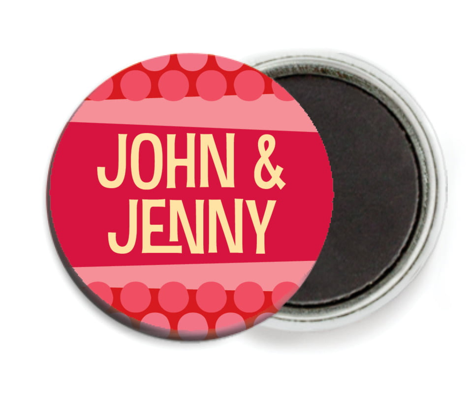 custom button magnets - red - fest (set of 6)