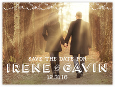 Flourishing Fronds wedding save the date postcards