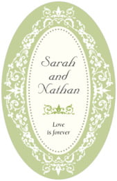 Filigree tall oval labels