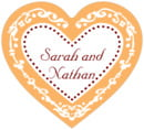 Filigree heart labels