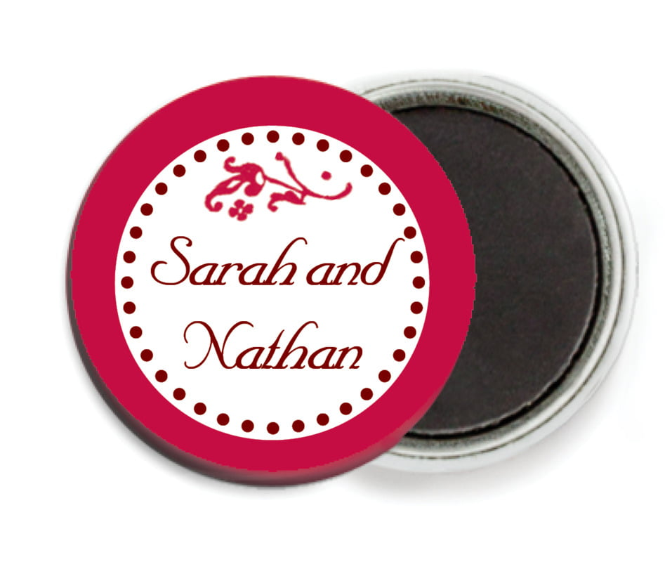 custom button magnets - deep red - filigree (set of 6)