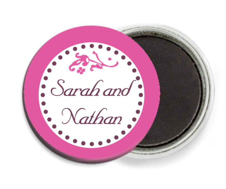 custom button magnets - bright pink - filigree (set of 6)