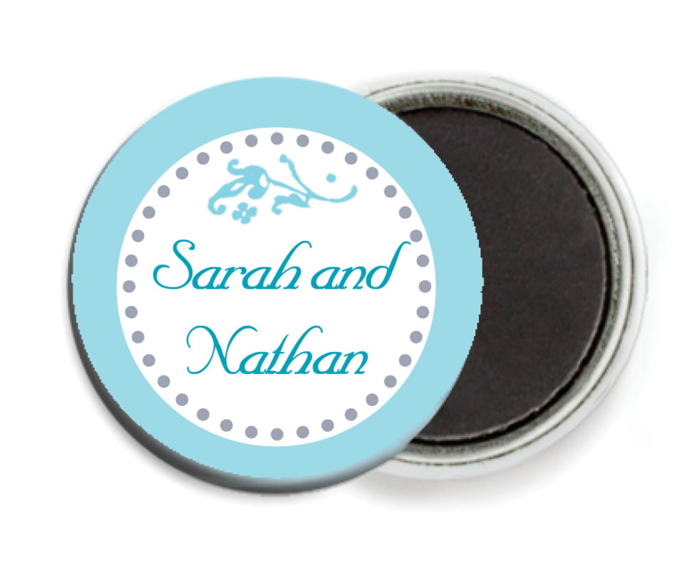 custom button magnets - bahama blue - filigree (set of 6)