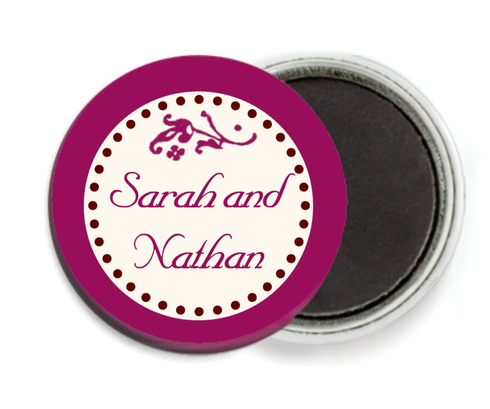 custom button magnets - burgundy - filigree (set of 6)