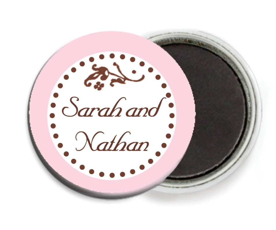 custom button magnets - cocoa & pink - filigree (set of 6)