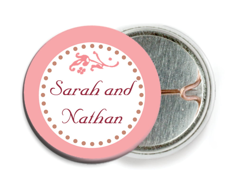custom pin back buttons - grapefruit - filigree (set of 6)