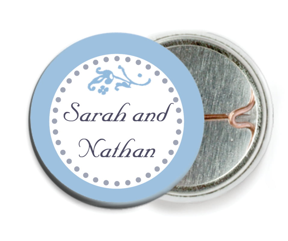 custom pin back buttons - blue - filigree (set of 6)