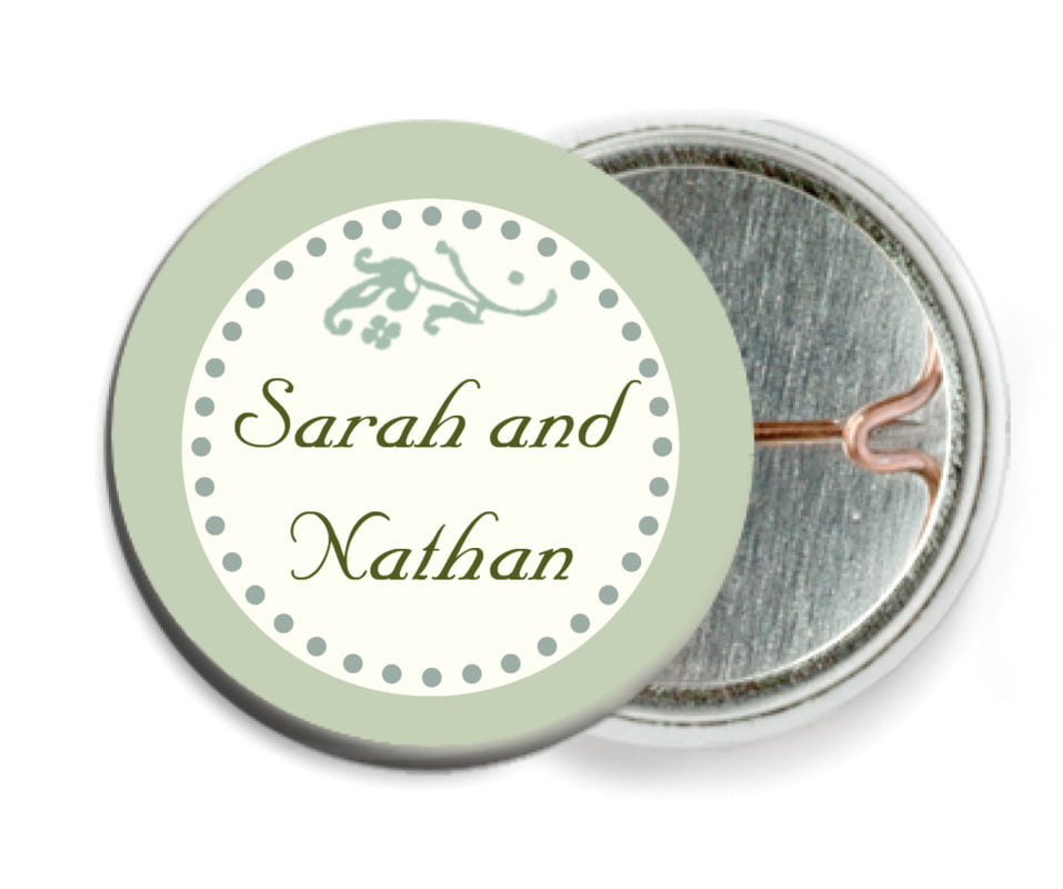 custom pin back buttons - sage - filigree (set of 6)