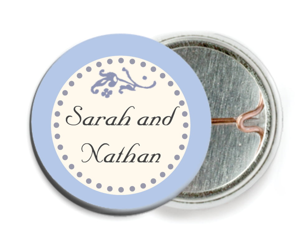 custom pin back buttons - periwinkle - filigree (set of 6)