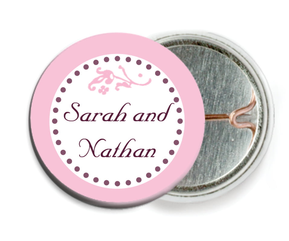 custom pin back buttons - pale pink - filigree (set of 6)