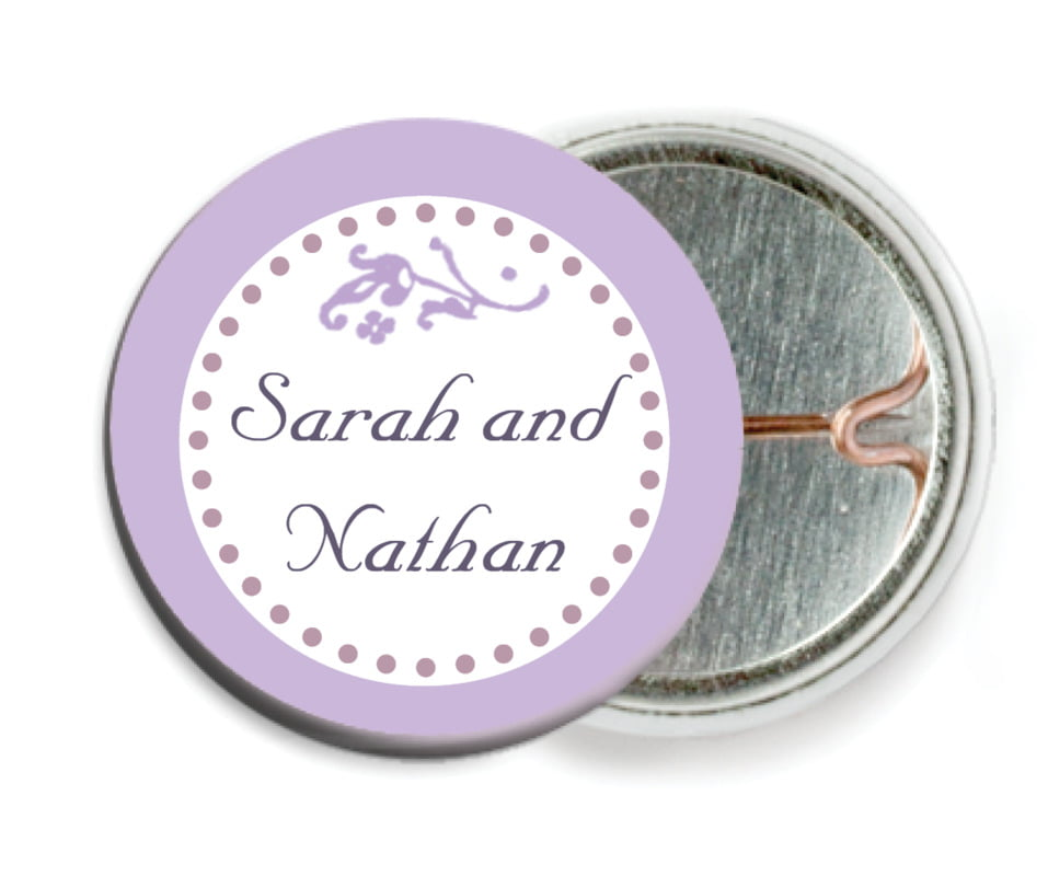 custom pin back buttons - lilac - filigree (set of 6)