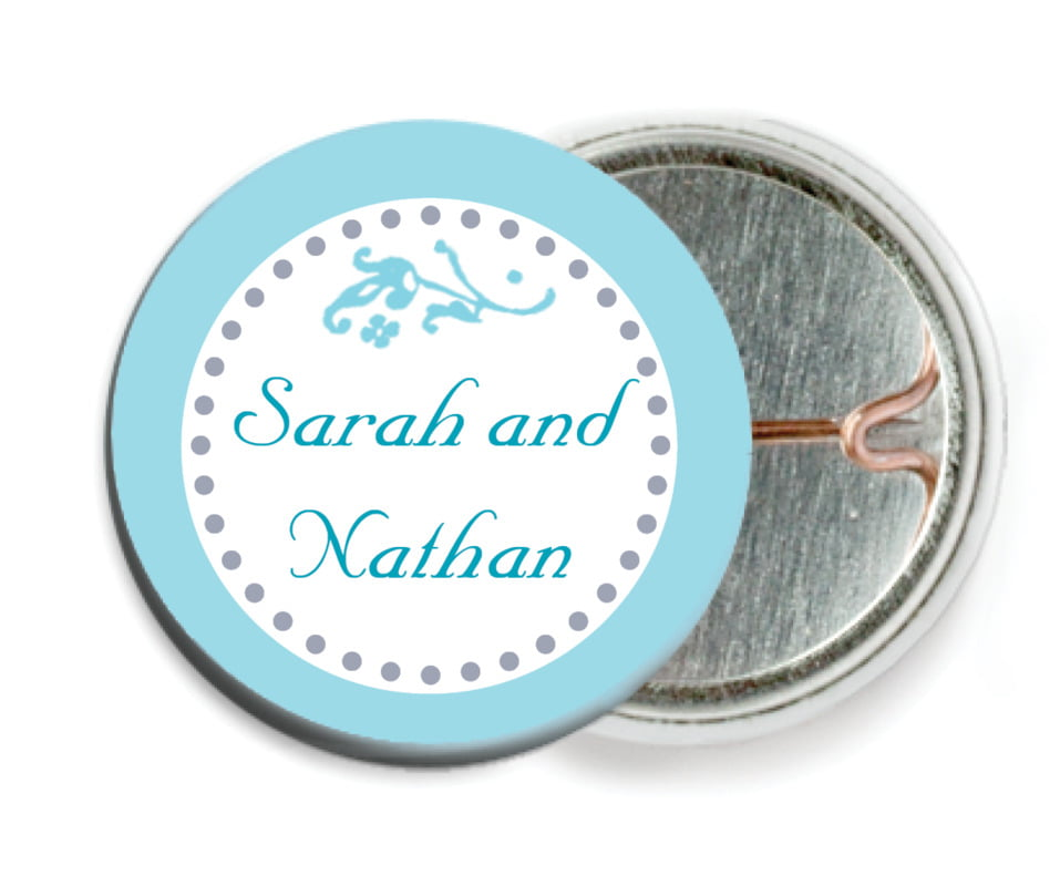 custom pin back buttons - bahama blue - filigree (set of 6)