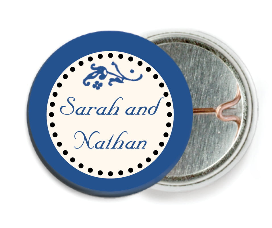 custom pin back buttons - deep blue - filigree (set of 6)