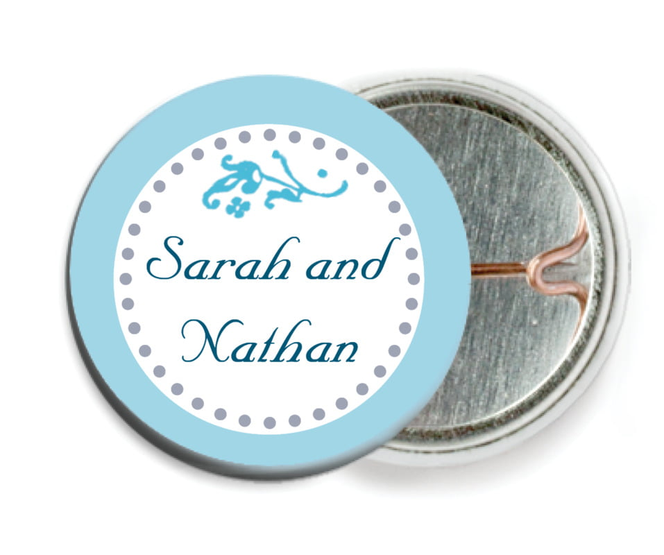custom pin back buttons - sky - filigree (set of 6)