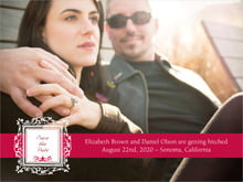 custom save-the-date cards - deep red - filigree (set of 10)