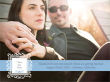custom save-the-date cards - blue - filigree (set of 10)