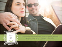 custom save-the-date cards - green tea - filigree (set of 10)