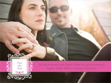 custom save-the-date cards - bright pink - filigree (set of 10)