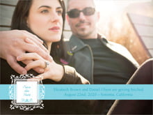 custom save-the-date cards - bahama blue - filigree (set of 10)