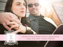 custom save-the-date cards - cocoa & pink - filigree (set of 10)