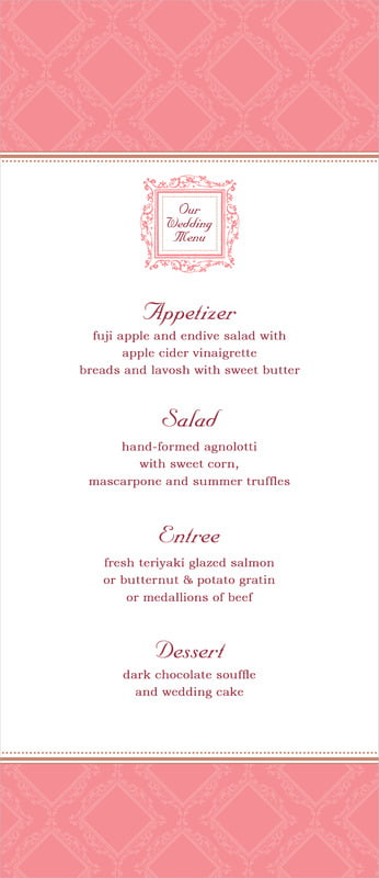 custom menus - grapefruit - filigree (set of 10)
