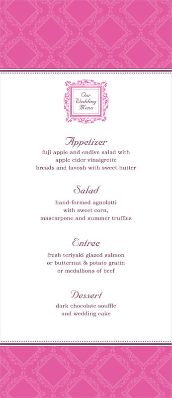 custom menus - bright pink - filigree (set of 10)