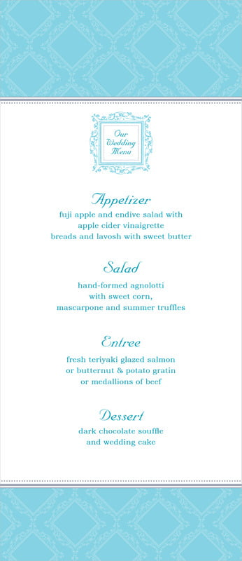 custom menus - bahama blue - filigree (set of 10)