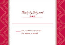custom response cards - deep red - filigree (set of 10)