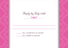 custom response cards - bright pink - filigree (set of 10)