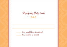 custom response cards - tangerine - filigree (set of 10)