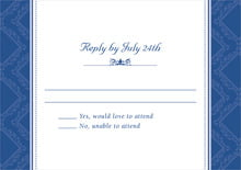 custom response cards - deep blue - filigree (set of 10)