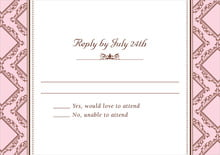 custom response cards - cocoa & pink - filigree (set of 10)