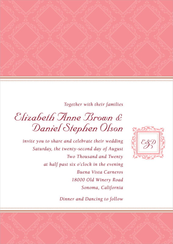 custom invitations - grapefruit - filigree (set of 10)