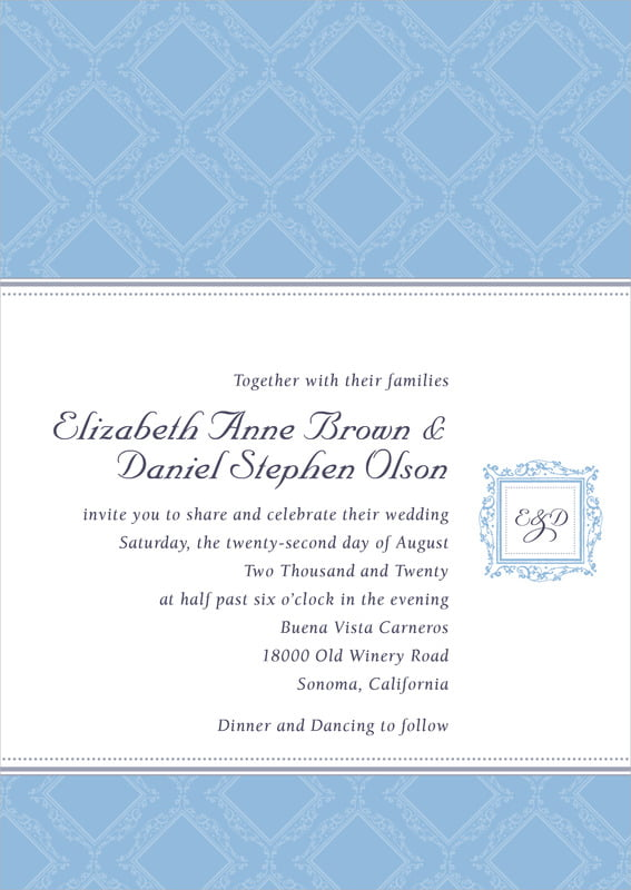 custom invitations - blue - filigree (set of 10)