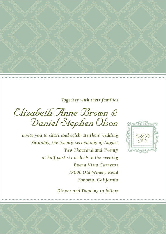 custom invitations - sage - filigree (set of 10)