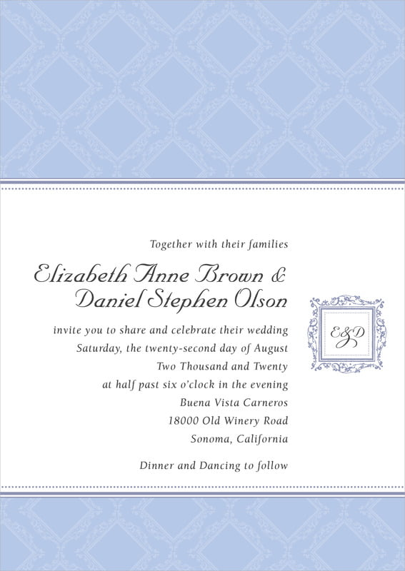custom invitations - periwinkle - filigree (set of 10)