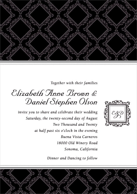 custom invitations - tuxedo - filigree (set of 10)