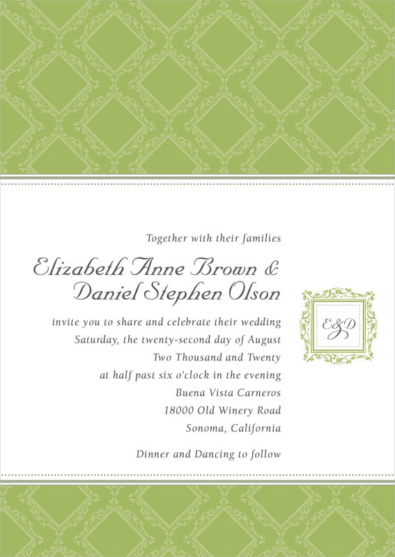 custom invitations - green tea - filigree (set of 10)