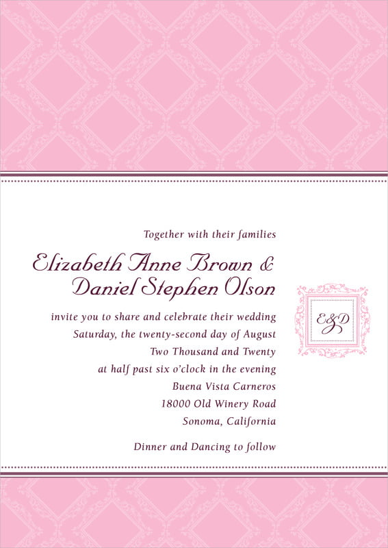 custom invitations - pale pink - filigree (set of 10)