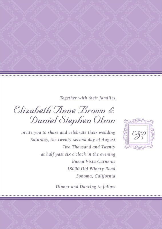 custom invitations - lilac - filigree (set of 10)