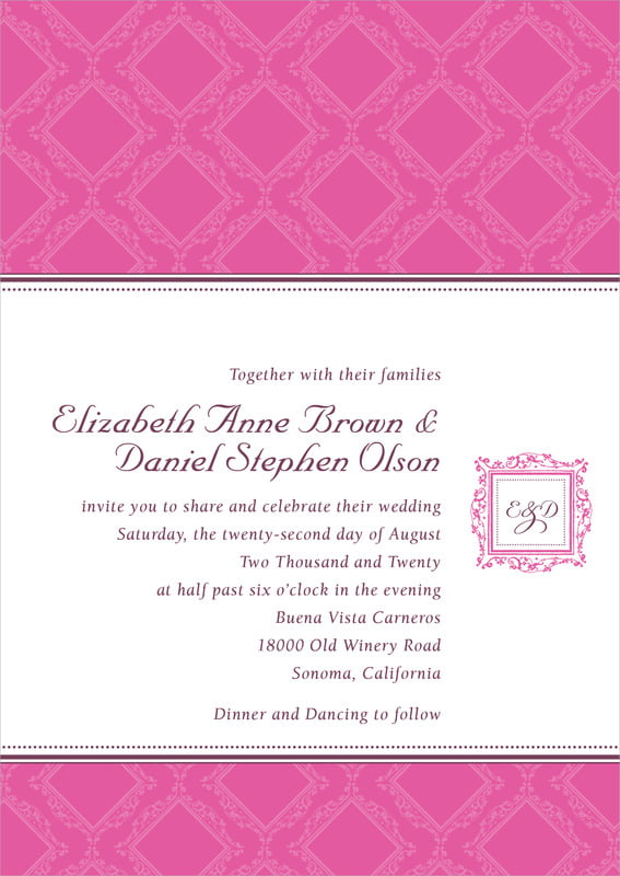 custom invitations - bright pink - filigree (set of 10)